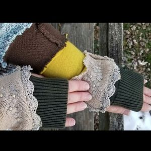 Armwarmers Boho Upcycled Patchwork Handwarmers